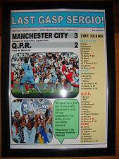 Manchester City 3 QPR 2 - 2012 - framed print