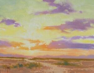 "TOM HAAS (b.1952) 'Horizon' oil 11""x14"" Arizona sunset sunrise Western landscape"