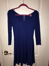 H&M Blue Long Sleeve Skater Dress-Womens Size 36 (Medium)