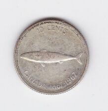 1967 Canada 10 cents Silver Coin Elizabeth II Confederation 100th annivers J-322