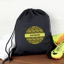 Personalised Khaki Camo Black Swim & Kit Bag Boys Waterproof Drawstring Gym Bags