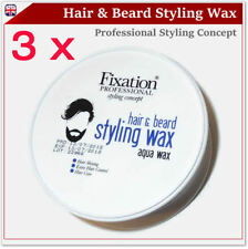 3 x Fixation Professional Hair & Beard Styling Cream Aqua Wax 150ml 5.07oz