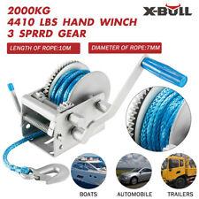 X-BULL Hand Winch 2000KG/4410LBS  Dyneema Rope Boat Car Marine Trailer 3 speed