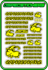 CAPRICORN RC STICKER A5 LAB 1/8 F1 1/10 TESLA ELECTRIC NITRO CAR HARD YELLOW B