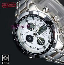 Reloj  con cronómetro Hombre caballero Digital y Analogico Acero Inox. Luz LED