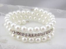 White Pearl Crystal Rhinestone Spiral Wrap Bracelet Silver Fashion Jewelry NEW