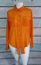 Lauren Ralph Lauren Orange Button Down Silk Blend Top Blouse Shirt Sz XL
