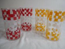 4 Vintage Red Yellow White Checked Tumbler Glasses