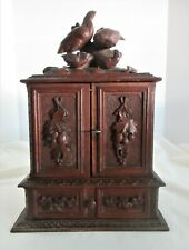 Antique,19th Century,TABLE TOP Carved Black Forest wood Cigar Humidor with Key
