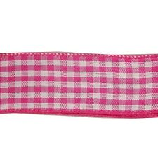 "5 yds COUNTRY GINGHAM CHECK WIRE EDGE RIBBON 1 1/2"" w (your choice of 7 colors)"