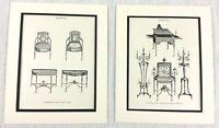1899 Antico Set Di Impronte Sheraton Cabinet Disegno Camera Sedie Pier Tavolo