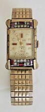 Vintage Hawthorne 17 Jewels Unisex Wrist Watch Quartz Gold Gem Diamonds Art Deco