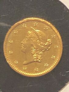 1854-S $1 Gold Dollar Type 1 Small Liberty Head RARE Low 14,632 mintage!