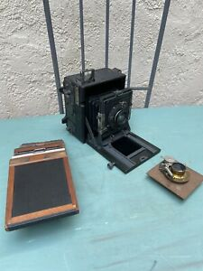 Vintage Graflex Speed Graphic Compur Carl Zeiss photo camera with extras Germany