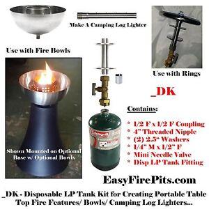 EasyFirePits DK Kit; 1lb Camping LP/ Propane Tank Kit for Gas Fire Table/ Bowls