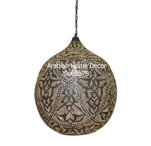 Handcrafted Moroccan Silver Plated Brass Pendant light Chandelier Lamp