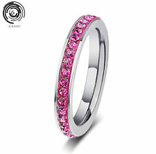 Stackable Band Stainless Steel woman Crystal Ring 4MM/XHS