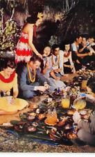 LUAU (Hawaiian Feast) Ti Leaves, Pineapples Hawaii c1950s Vintage Postcard
