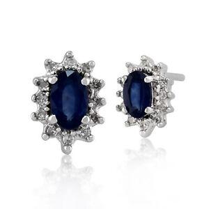 9ct White Gold Genuine Blue Sapphire & Diamond Cluster Stud Earrings Gift Boxed