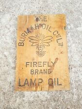 1920'S VINTAGE RARE THE BURMAH OIL FREEFLY BRAND LAMP oil WOODEN ADV. SIGN,U.S.A