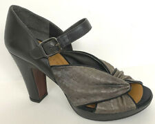 CHIE MIHARA  Leather Strappy Platform Heel Sandals brown/black Sz 9.5/39.5 XLNT