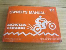 Honda XR500 XR500R 1981 User Manual in nice condition.