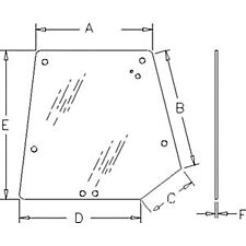 Tinted Rear Upper Glass Fits Massey Ferguson 4225 4235 4240 4243 4245 4253 4255