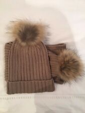 New Women's Taupe Racoon Fur Pom Pom Cable Knit Hat & Scarf by Somerville Scarve