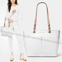 NWT 🌸 MICHAEL Michael Kors Bedford Medium Zip Pocket Leather Tote Optic White
