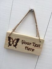 Handmade Personalised Rustic Wooden Butterfly Child's Room Garden Sign Plaque
