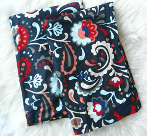 IKEA Kratten 2 Standard Pillowcases Dark Blue Paisley Floral Red Coral Cotton