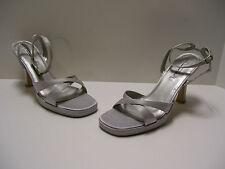 Summer Rio Womens Shoes Sz 8.5 M US Silver Satin Heels Slipons Casual Dress