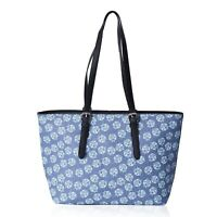 Dusty Blue with Blue Flower Pattern Faux Leather Tote Bag Handbag for Women