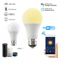 B22/E27 Smart LED Light Bulb 15W WiFi RGB Color App Control For Alexa Google