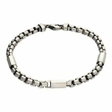 Sterling Silver 21cm Heavy Oxidised Snake with Three Hexagons New