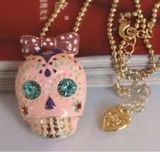 N414 BETSEY JOHNSON Party Cute Pink Black Skull Halloween Necklace US