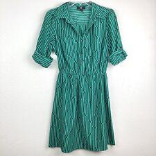 IZ Byer Women's 1/2 Button Up Dress Size Small Green Black Geometric Print