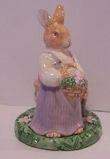 Bunny Rabbit Garden Tealight Candle Holder Egg Flowers Springtime Figurine