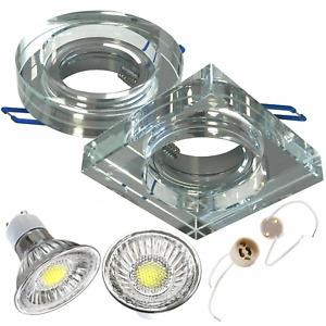 Einbaurahmen GU10 Eckig Rund Einbaustrahler COB LED Spot Einbauleuchte Glas 20mm