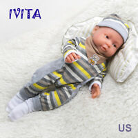 IVITA 16'' Full Silicone Reborn Doll Baby Boy Green Eyes Lifelike Silicone Doll