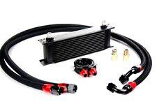 13 Row Black Oil Cooler Kit AN-10 Braided Lines Engine Transmission Cooler