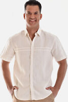 Mens Bohio 100% Linen Ivory Casual Short Sleeve Shirt ( S ~ 2XL ) - MLS758
