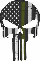 "Punisher Skull American Flag Olive Drab Military Sticker Graphic 6"" X 4"""
