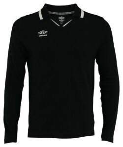 Umbro Mens Johnny Collar Cotton Long Sleeve Jersey Shirt, Color Options