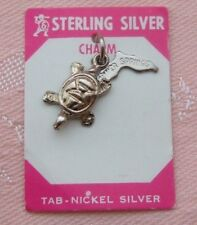 Vintage SILVER SPRINGS FLORIDA TURTLE Sterling Silver Charm ON CARD
