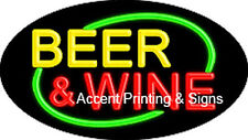 BEER & WINE HANDCRAFTED REAL GLASSTUBE FLASHING NEON SIGN