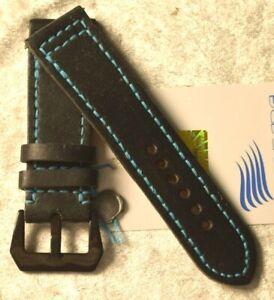 "1 1/32in Watchband Handmade Wrist Watch Band "" Molberg "" New! Black Vintage"