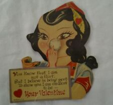 VINTAGE MECHANICAL VALENTINE GREETING CARD, WOMAN POWDER COMPACT MAKE UP SIGNED