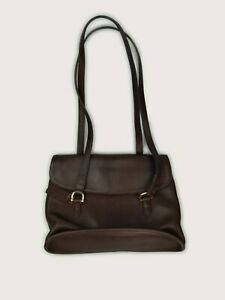 VINTAGE | COACH Equestrian Shopper Flap Bag Dark Brown Leather A8B-9808