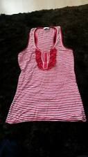 red white stripe ruffle front size 10 womens vest top stretchy pretty